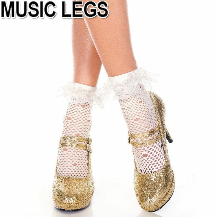 174d1d493050d MusicLegs(ミュージックレッグス) ラッフルレース付きネットショートソックス ML517 ホワイト 白 靴下 ゴス