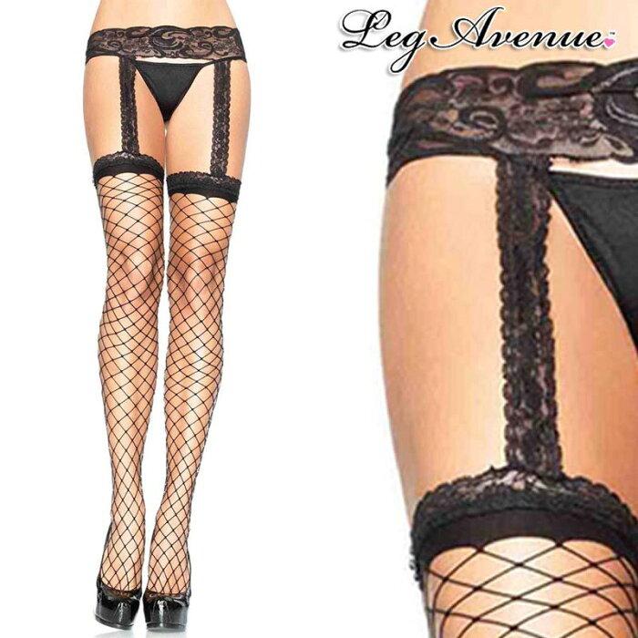 Leg Avenue(レッグアベニュー)ガーターベルトフェンスネットストッキング LA1769 黒 ブラック タイツ ダンス 衣装 ダンサー ランジェリー 網タイツ パーティー ウェディング レディース A1199