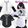 重ね着風バックプリントモノトーンベースボールシャツ/長袖シャツ/ロンTブラックホワイトヒップホップユニセックスダンス衣装レディースキッズダンサーレイヤード風ユニフォーム黒白白黒C836-C837
