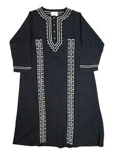 GOHEMP ゴーヘンプ LINDEN BLOSSOM リンデンブロッサム MOROCCAN ONE PIECE モロッコ ワンピース 刺繍 BLACK 黒 HEMP 麻