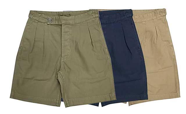 メンズファッション, ズボン・パンツ SALE 30OFF Nigel Cabourn PLEATED SHORT HB 3BEIGEGREENDK.NAVY