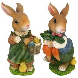 バニー・ホップ・レーン(兎が飛び跳ねる小道)夫婦のウサギ彫像:2匹セット彫刻 彫像/ 兎年 記念品 誕生日 プレゼント贈り物(輸入品)