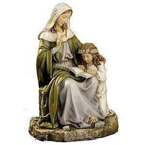 Statue de la Vierge Marie et de la Sainte-Anne Renaissance Sculpture occidentale Hauteur env. 18 cm (article importé)