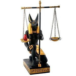 Sculpture occidentale Justice Anubis Dieu Figurine égyptienne antique Statue Sculpture / noir et or Anubis écailles de justice [Import]