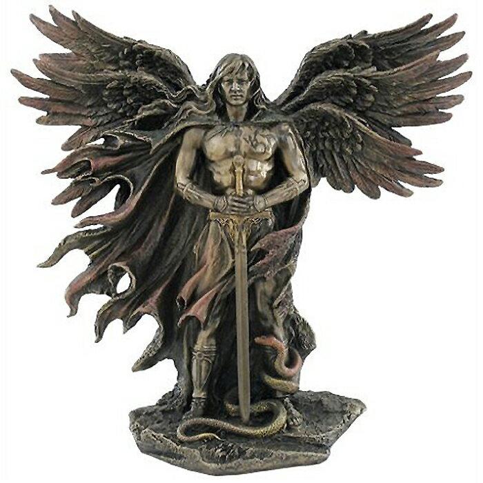 6つの翼の 剣と蛇を持った守護天使 セラフィム コールドキャストブロンズ風 彫像 高さ 約28cm/ 熾天使 イザヤ書 ヨハネの黙示録 キリスト教 カトリック教会 祭壇 聖霊/ Six Winged Guardian Angel (輸入品)画像