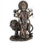 ヒンズー教 デーヴァ神族の女神 ドゥルガー(デュルガ) ブロンズ風 彫刻 彫像 高さ約28cm/ ヒンドゥー教の女神「近づき難い者」戦いの女神准 胝観音 突伽天女 塞天女(輸入品)