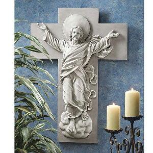 पश्चिमी दीवार पर नक्काशी पुनर्जीवित मसीह स्वर्गारोहण प्रतिमा कैथोलिक / He is Risen Christ Ascension Wall Sculpture (Import)