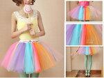 チュチュスカート大人も着られるふわふわTUTUチュチュスカートカラーパニエ結婚式コスチュームダンス発表会ダンス衣装虹色カーラチュチュスカート
