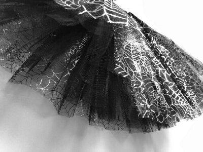 [Romance衣装]メール便1枚のみ送料無料チュールスカートハロウィン蜘蛛の巣コスプレチュチュスカートダンス衣装子供TUTUカラーパニエコスチューム着丈約30cm