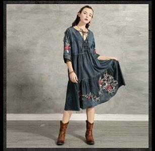 [Romance衣装]送料無料レディースデニムワンピースレトロ調ジャケットワンピースングb9286カッコいい女性コート