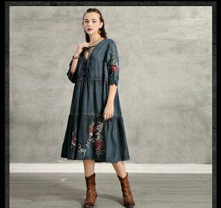 レディースデニムワンピースレトロ調ジャケットワンピースングA82188かわいい女性コート花柄