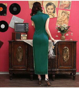 高級上質送料無料忘年会チャイナドレス服コスプレチェック柄のチャイナドレスロング綿半袖ハロウィンS〜XXL大きサイズもありあす楽花柄刺繍パーティードレスワンピース赤ピンク緑4色