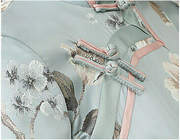 [Romance衣装]高級上質送料無料忘年会チャイナドレス服コスプレチェック柄のチャイナドレス膝丈ミニチャイナドレス綿半袖ハロウィンS〜XXL大きサイズもあり花柄ピンク緑