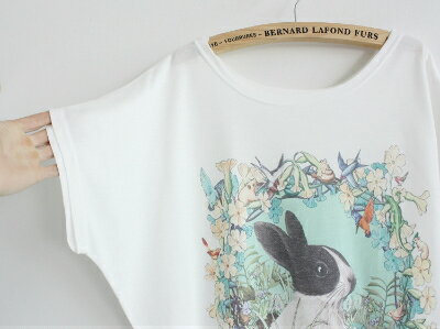 新商品メール便で送料無料レディーストップス半袖レディースTシャツ綿コートンデザイントップトレンドトップスシンプルかわいいデザイン動物系猫兎鳥魚風船女子孔雀鹿馬