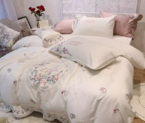 Romanceレデイース高級姫系寝具4点セット高級綿シングルからキング4サイズコットンフリル可愛い刺繍花柄
