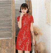 レディースチャイナワンピースミニチャイナドレス半袖龍鳳柄チャイナ6サイズS-XXXL7色ネイビー赤黒ブルーピンクベージュ黒紅