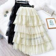 Romance衣装レディースチュールスカートロングフレアスカートレース花柄フリルコスプレチュチュスカート
