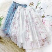 レディースチュールスカートロング春夏プリーツスカート花柄フレアスカートブルーピンクホワイト