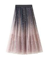 レディースチュールスカートロングフレアスカート星柄星空スカートグラデーション柄スカート