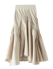 レディーススカートロング無地ギャザー不規則フレアスカートおしゃれスカート3色