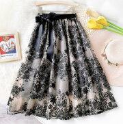レディーススカート花柄刺繍ロングフレアスカート裏地付き