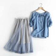 レディースチュールスカートとトップス上下セット春夏向き清涼感全開のパールブルー系色