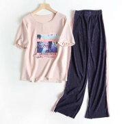 レディースパンツトップス上下セット春夏向きコーデュロイ風パンツ両サイドにピンクの太いライン