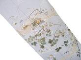 訪問着未仕立て風情のある草花文様訪問着グレー水色d002r