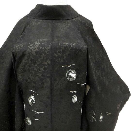 和装 コート 【レンタル】 着物 貸衣装 道中着 正絹 紋紗 刺繍 絵羽 フォーマル カジュアル うさぎ 黒 Mサイズ co0003r