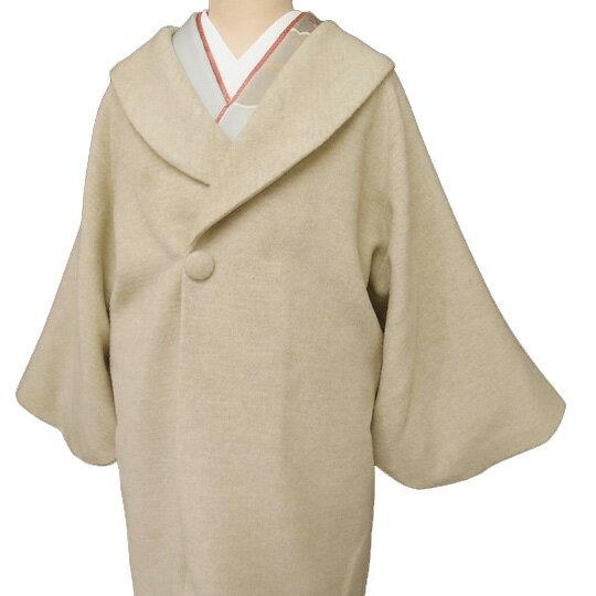 【レンタル】 和装 コート 貸衣装 防寒 女性 日本製 へちま衿 羊毛 アルパカ混 フォーマル カジュアル 縞 ベージュ フリーサイズ 送料無料 一部地域を除く co0111r