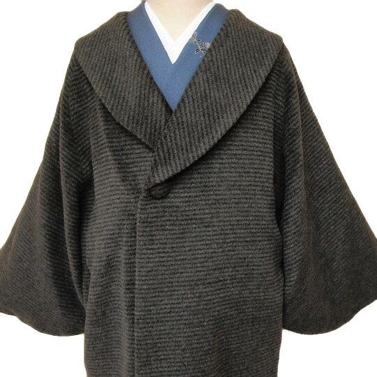 和装 【レンタル】 コート 貸衣装 防寒 女性 日本製 へちま衿 羊毛 アルパカ混 フォーマル カジュアル 縞 チャコールグレー フリーサイズ co0112r