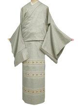 訪問着正絹未仕立て渡源織物ぜんまい紬訪問着/単衣にも老竹色系新品c020r