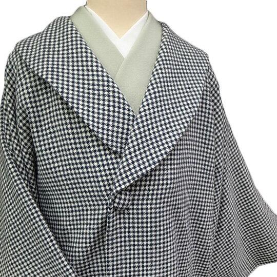 【レンタル】 和装 コート 貸衣装 防寒 女性 日本製 へちま衿 羊毛 カジュアル 市松柄 品番3605 黒 白 フリーサイズ 送料無料 一部地域を除く co0024r