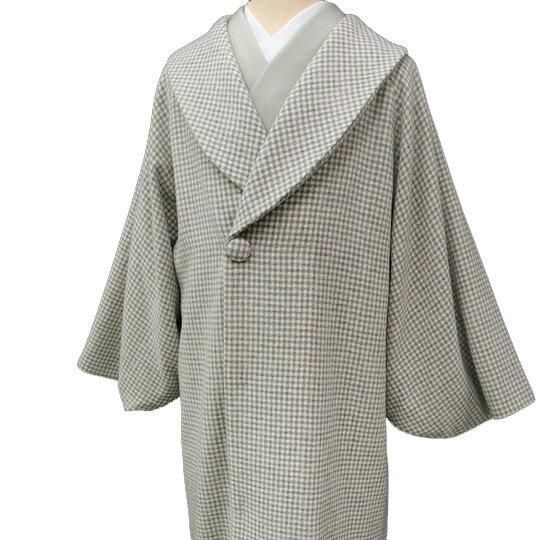 【レンタル】 和装 コート 貸衣装 防寒 女性 日本製 へちま衿 羊毛 カジュアル 市松柄 品番3605 グレー フリーサイズ 送料無料 一部地域を除く co0025r