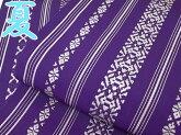 夏浴衣帯半幅帯博多帯本場筑前博多細帯浴衣帯紫白d525