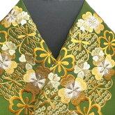 振袖用半衿半襟日本製桜鹿の子振袖刺繍半襟抹茶色新品g950r