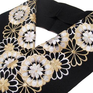 半衿 振袖 刺繍 乙女菊 フォーマル 成人式 03501720 No.5 黒 金 白 b755 Tsi