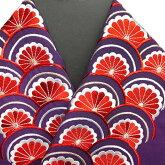 振袖用半衿半襟日本製青海に菊振袖刺繍半襟紫色新品g956r