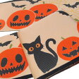 半幅帯 ハロウィン 黒猫 トランプ リバーシブル おりびと 明るめのベージュ系 橙 黒 f581r