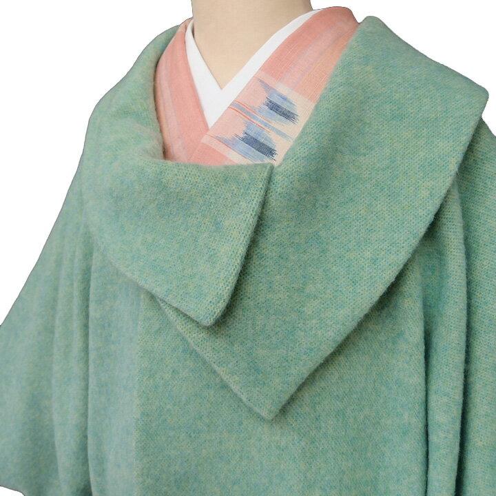 【レンタル】 着物 貸衣装 防寒コート 和装コート 英国羊毛 アルパカ混 日本製 レディース カジュアル 品番3370 緑 送料無料 一部地域を除く co0193r