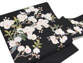 本絞り名古屋帯仕立て上がり新品正絹花柄ちりめん九寸名古屋帯藍紺c596r