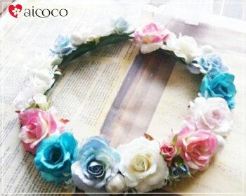 ドレス花かんむりミックスオールドローズ高級造花薔薇造花通販シルクフラワー
