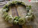 【ヘッドドレス】花冠 ライトグリーン花かんむりウエディング…