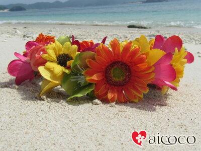 高級造花のガーベラプルメリア薔薇花かんむり。ワイヤーが入っておりますので、簡単装着タイプ...