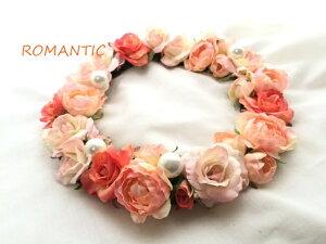 高級造花の薔薇花かんむり。ワイヤーが入っておりますので、簡単装着タイプです。後ろ側はフッ...