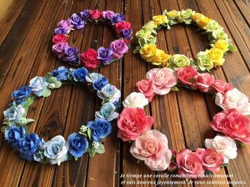 【ヘッドドレス】花冠 20色から花かんむりウエディング ウェディング オレンジ 赤 ブルー 結婚 式 ブレスレット グリーン ヘアアクセサリー 花 結婚式 アイテム フラワー パーティ 大人 ヘアアクセ 造花 フェス