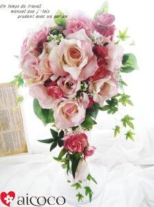 高級造花のブーケ+ヘッドドレス+新郎用ブートニアのセット価格で新登場!31,500円→なんと9...