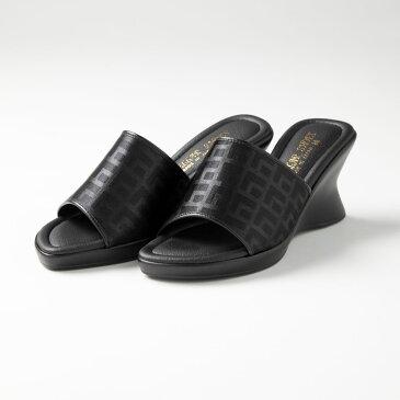 日本製!厚底ウエッジデザインミュール「レディースサンダル、オフィスサンダル、オープントゥー、黒、ブラック、美脚、疲れにくい」
