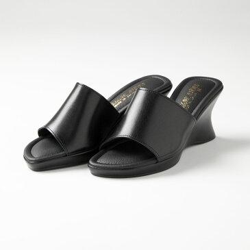 日本製!厚底ウエッジミュール「レディースサンダル、オフィスサンダル、オープントゥー、黒、ブラック、美脚、疲れにくい」