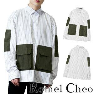 【送料無料】RomelCheo ビッグシルエット ストライプシャツ ワークシャツ メンズ ビッグポケット オーバーサイズ ストリート ファッション B系 シャツワンピ きれいめ ゆったり レギュラーカラー ロメルチェオ
